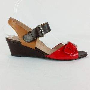 Anyi Lu 37.5/US 7.5 Red/Brown Wedge Sandals S23-17